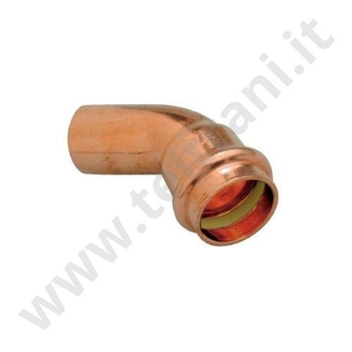040PR35 - CURVA MASCHIO FEMMINA A 45° IN RAME A PRESSARE  D. 35