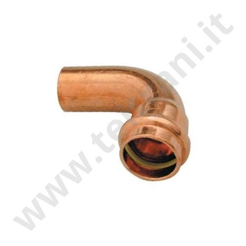 001PRG18 - CURVA MASCHIO FEMMINA A 90° IN RAME A PRESSARE  D. 18 PER GAS