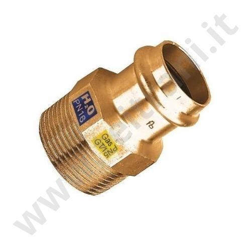 243PRG0318 - RACCORDO MASCHIO PER RAME A PRESSARE  D. 1/2'×18 PER GAS
