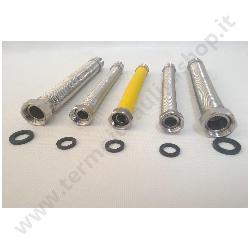 KIT 5 FLESSIBILE ESTENSIBILE INOX mm.200/400 COMPOSTO DA 2 FLESSIBILI PER ACQUA 3/4x3/4 E 2 FLESSIBILI PER ACQUA 1/2x1/2 E 1 FLESSIBILE PER GAS 3/4x3/4